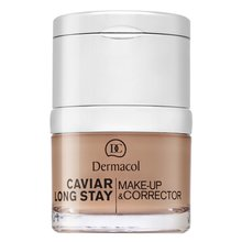 Dermacol Caviar Long Stay Make-Up & Corrector 4 Tan make-up s výtažky z kaviáru a zdokonalující korektor 30 ml
